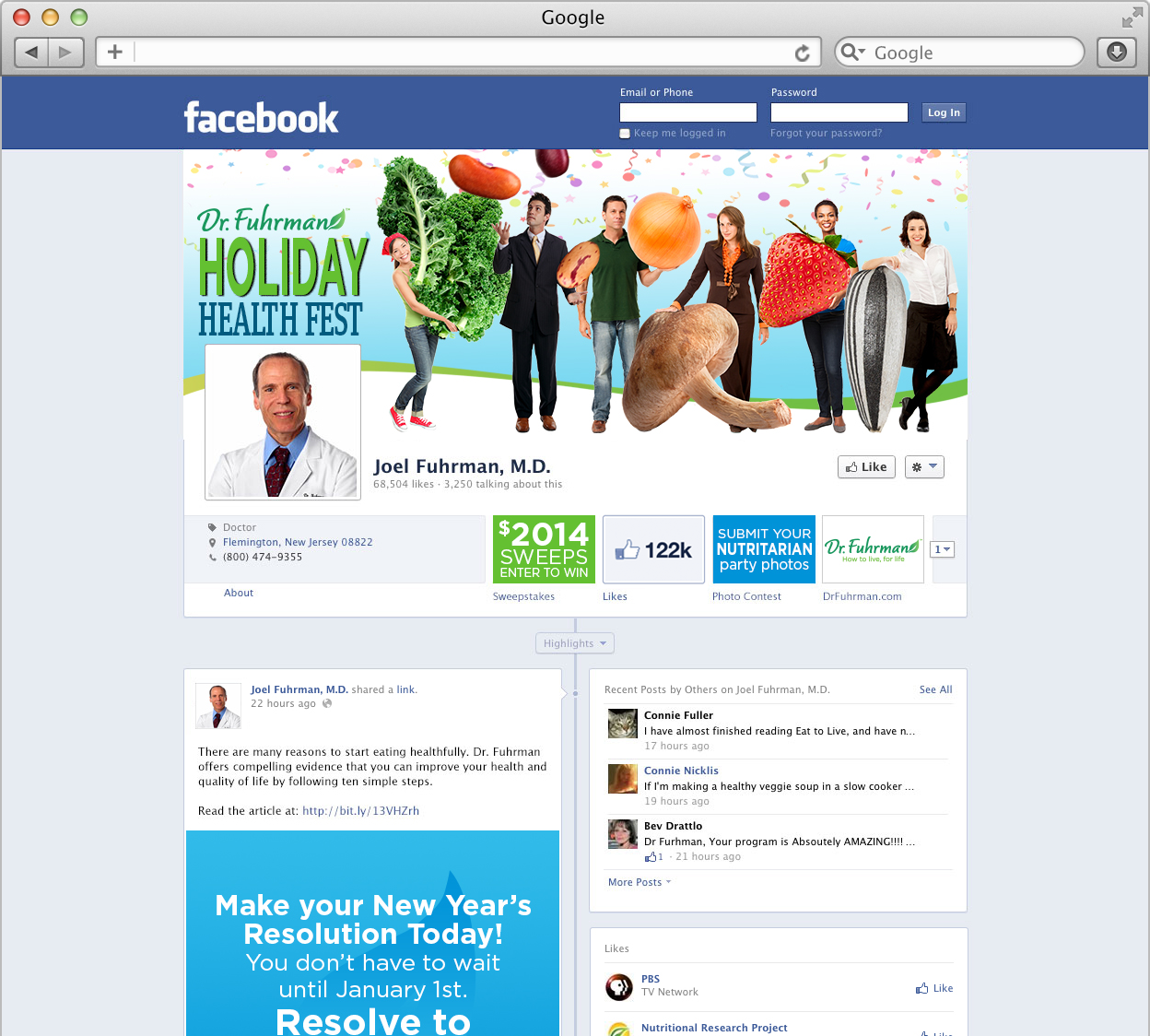 Dr. Fuhrman Facebook page