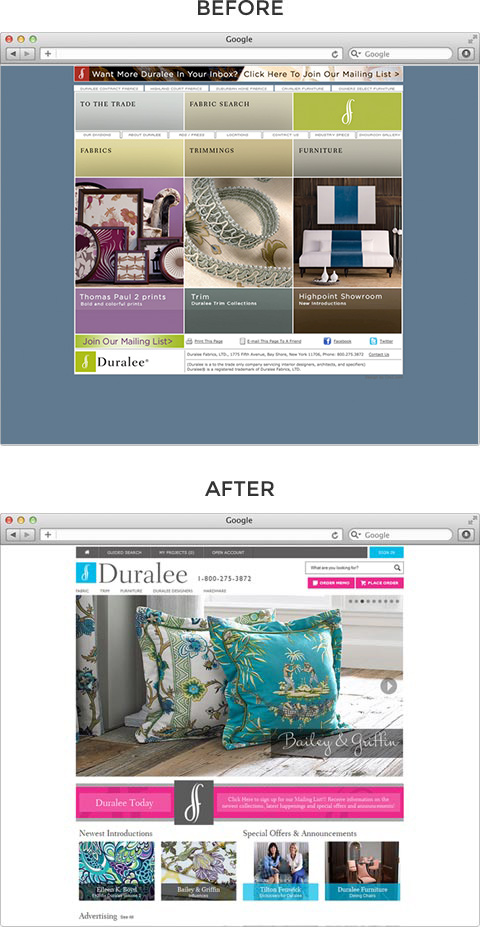 Duralee website before and after