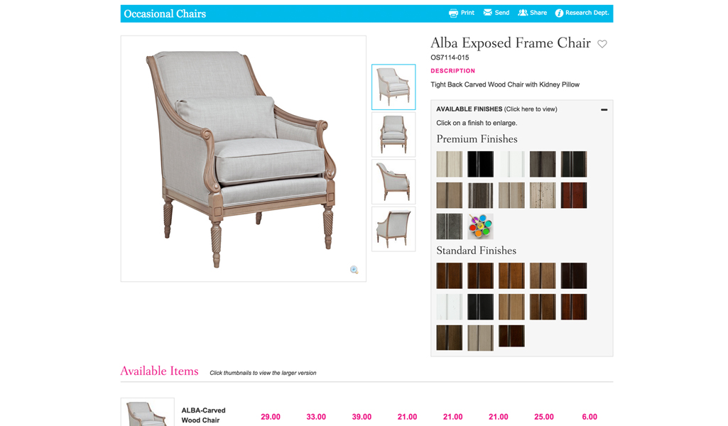 furniture detail page
