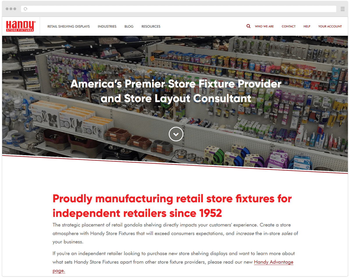 New Handy Store Fixtures Homepage