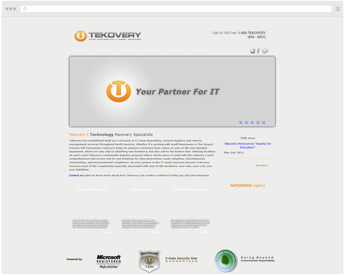 Old Tekovery Homepage