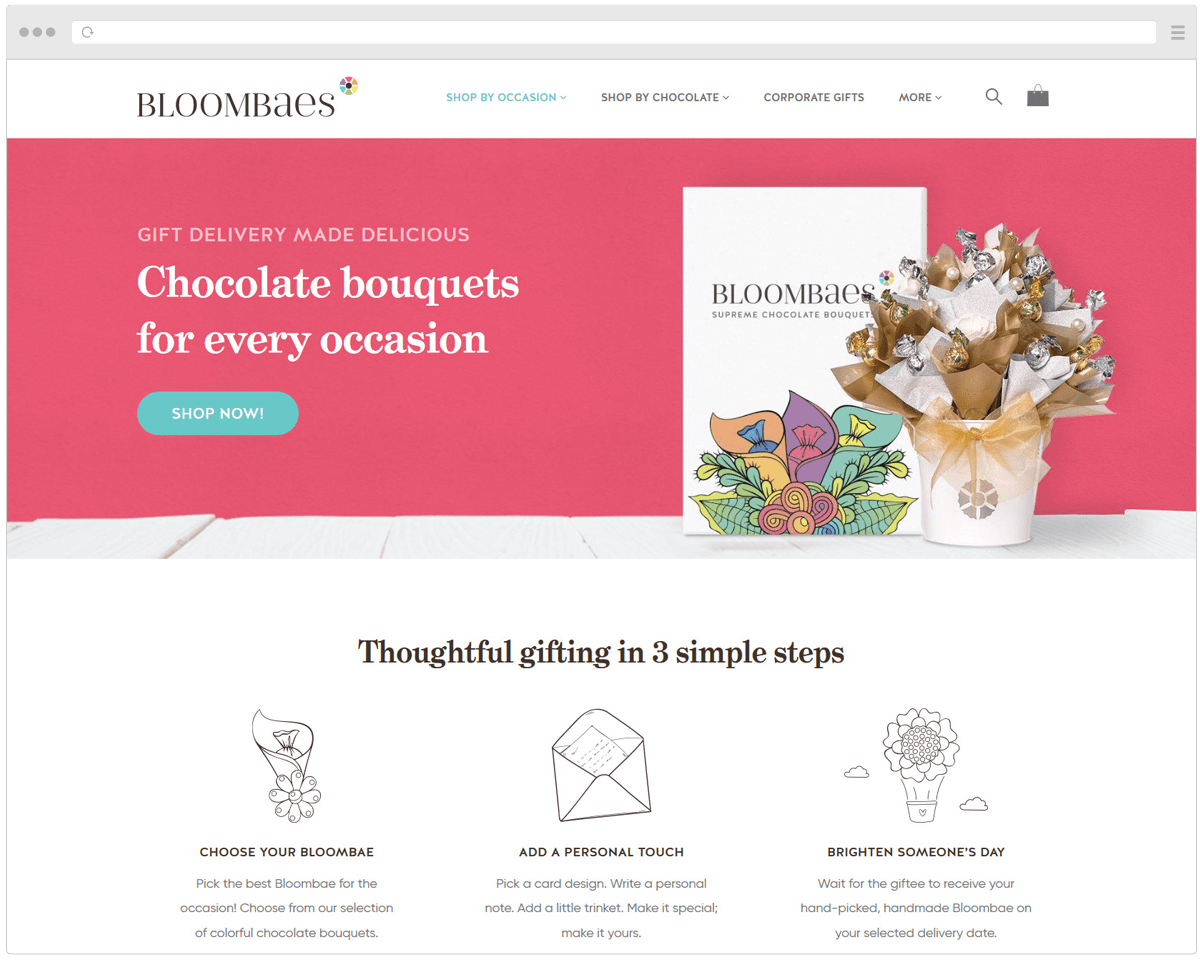 Bloombaes website homepage