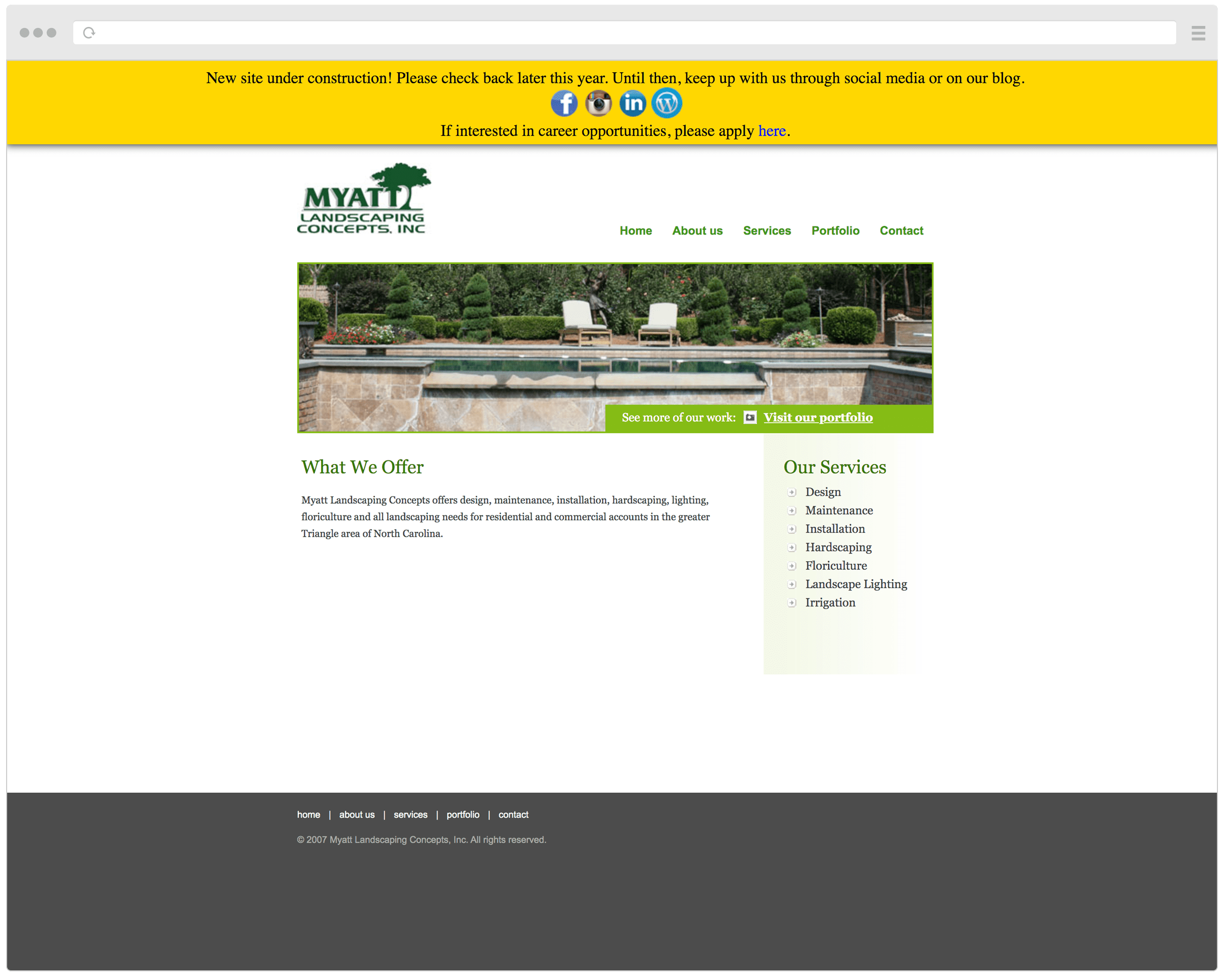 Myatt Landscaping old homepage