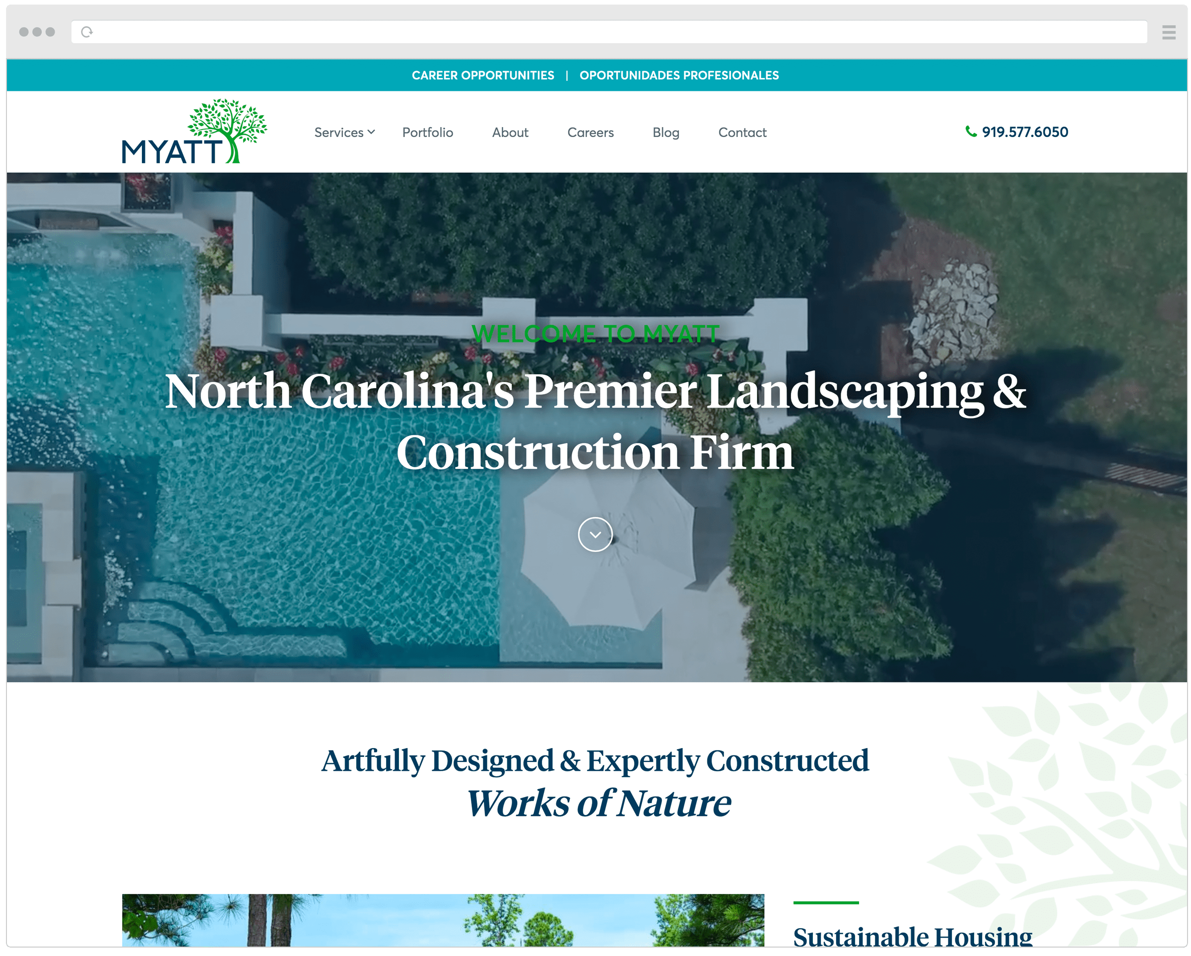 Myatt Landscaping new homepage
