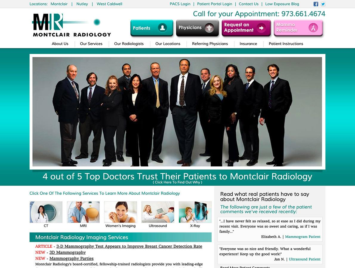 screenshots of Montclair Radiology website