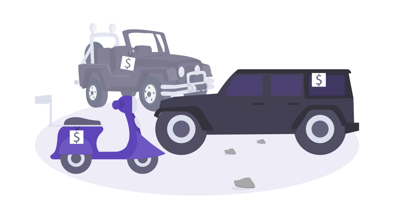 illustration of vehicles for sale