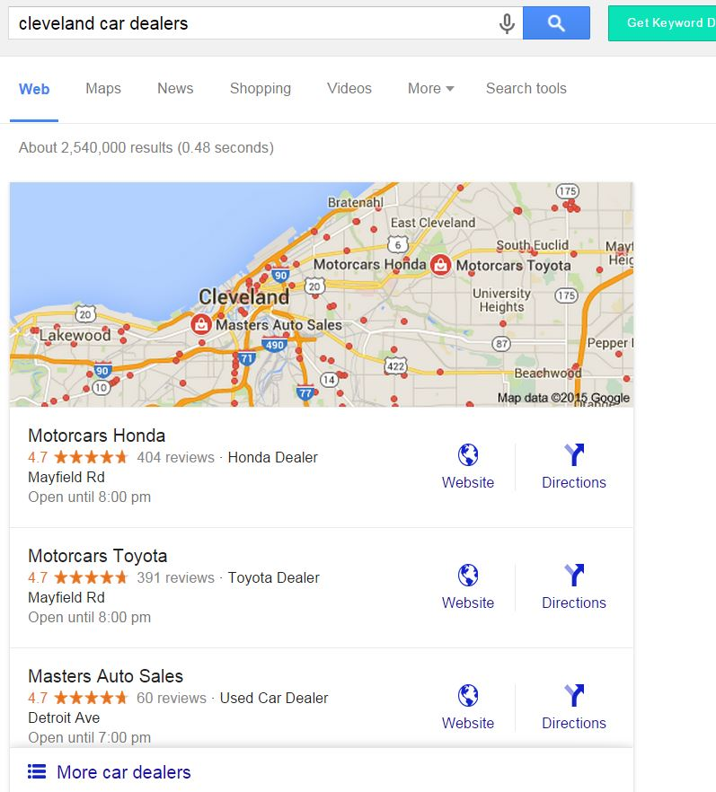 google local seo 3 pack snack pack
