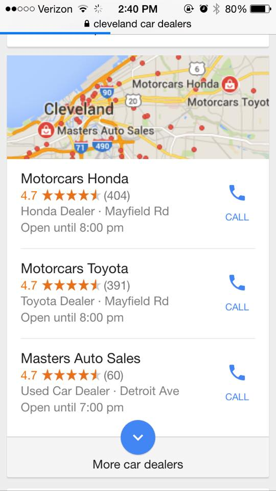 google local seo mobile result
