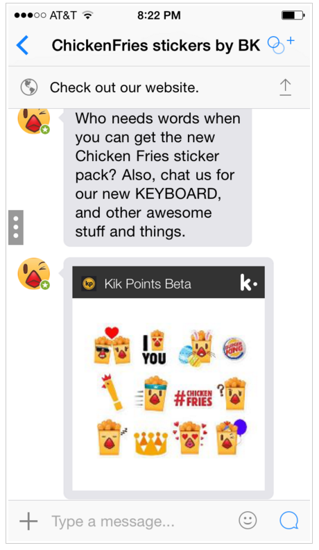 Example of brand using Kik effectively