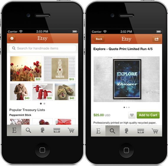 mCommerce mobile commerce example Etsy mobile app