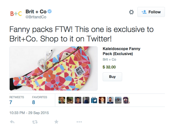 Example of brand selling product via Twitter ad