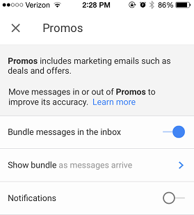 Inbox App Custom Notifications
