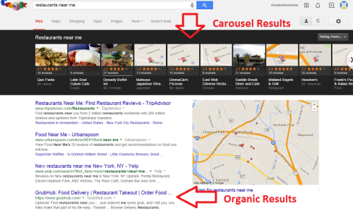 Local SEO Carousel and Organic Results