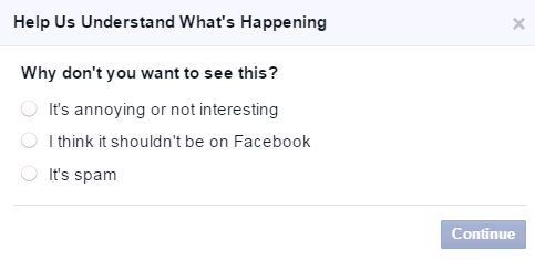 facebook questions asking why users don't want to see content