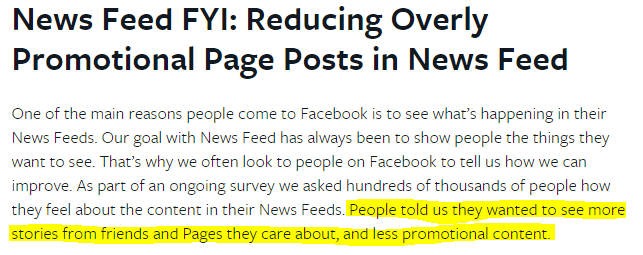 facebook decreases overly promotional posts