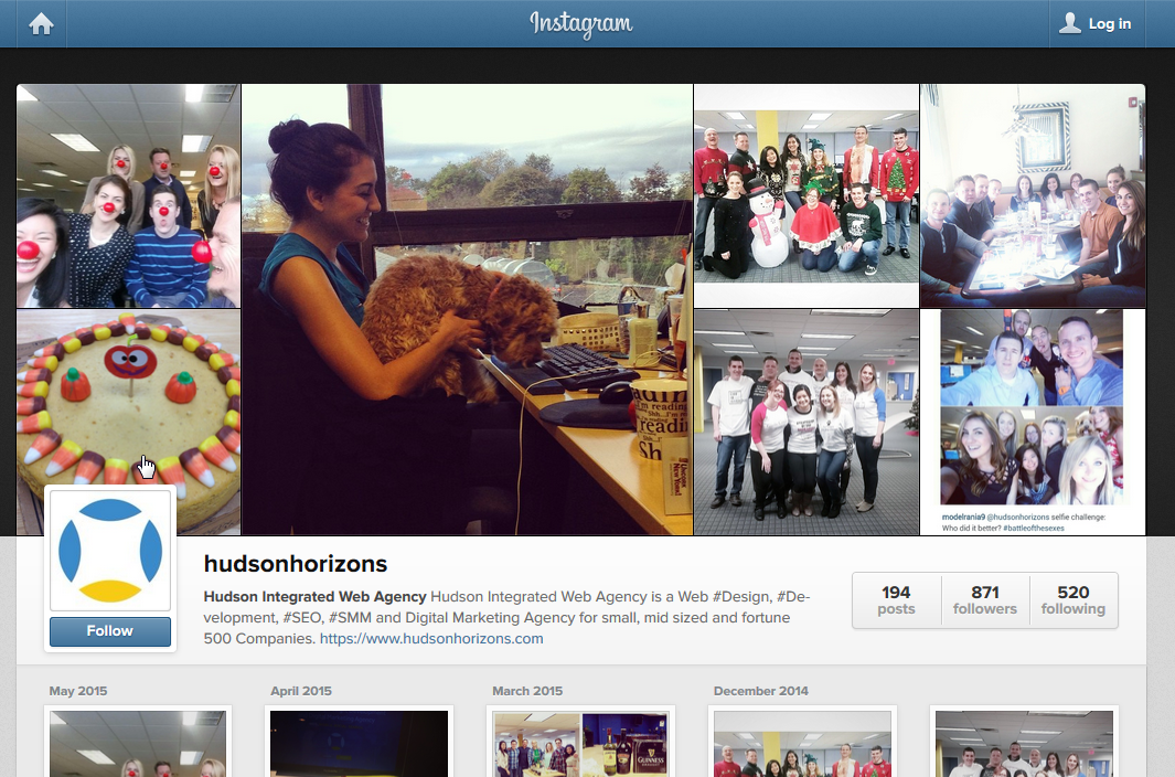 Hudson Integrated Web Agency Instagram Page
