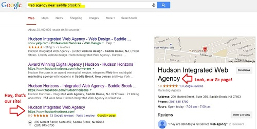 local search result showing google+ page