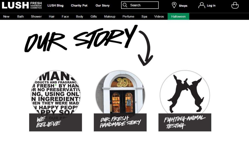 example of quality web content - lush