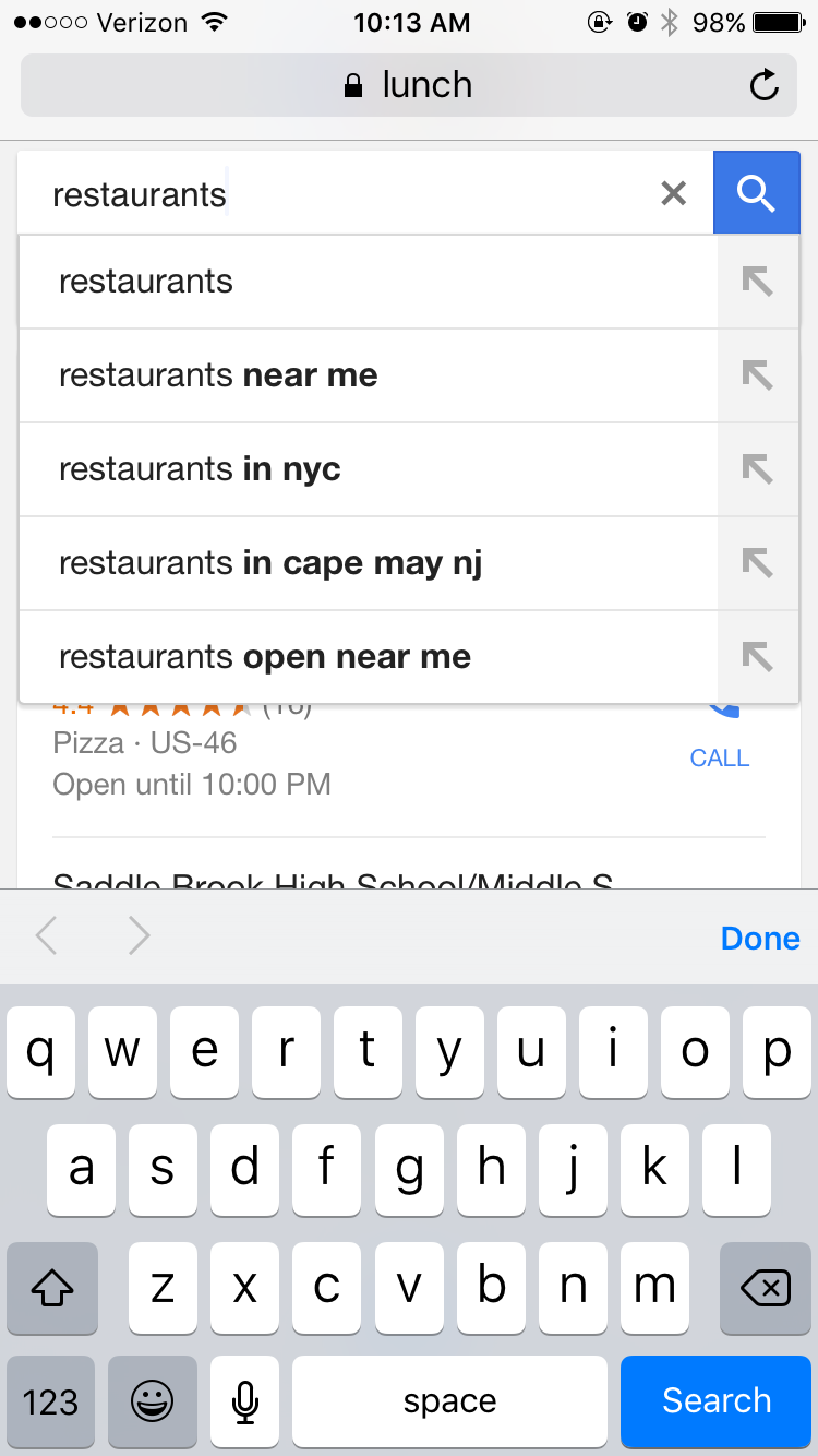 google local search query on mobile