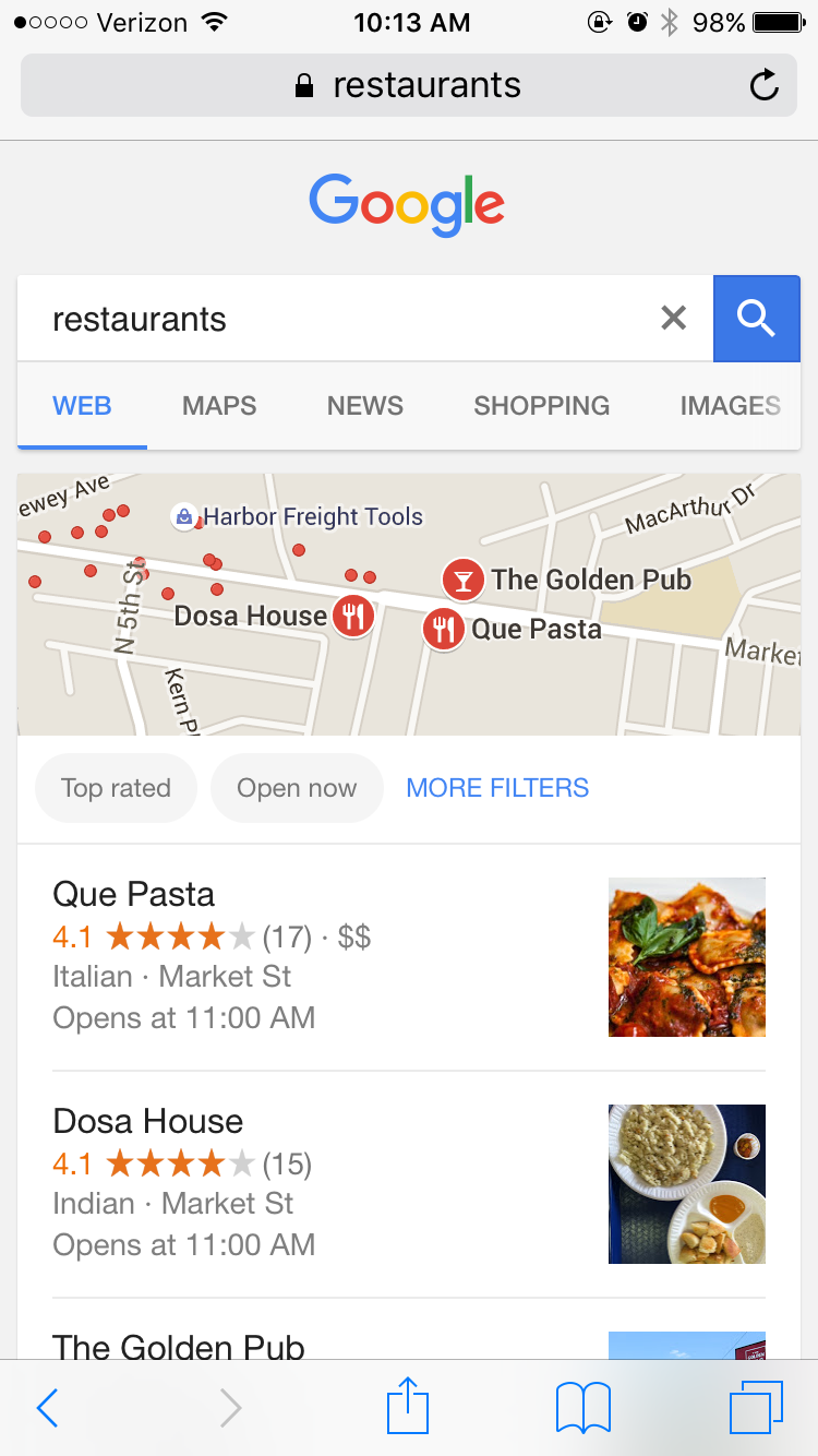 a google mobile search result on local vertical