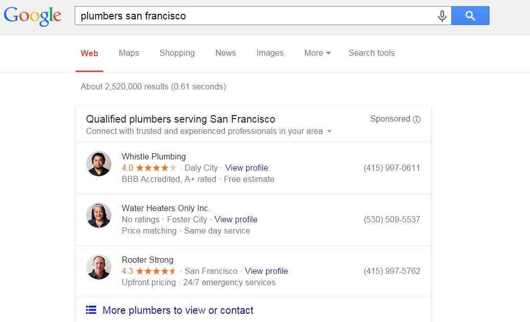 google local search sponsored ads 2015