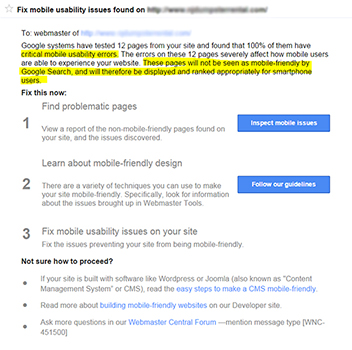 Google Webmaster Mobile Usability Warning Message